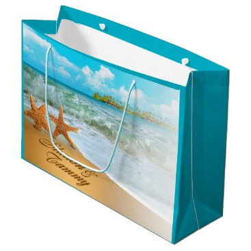 Beach Themed Starfish Couple ASK ME TO PUT NAMES IN SAND Large Gift Bag