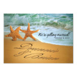 """Starfish Couple ASK ME TO PUT NAMES IN THE SAND 5"""" X 7"""" Invitation Card"""