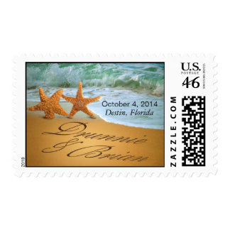 Starfish Couple ASK ME TO PUT NAMES IN THE SAND Postage Stamp