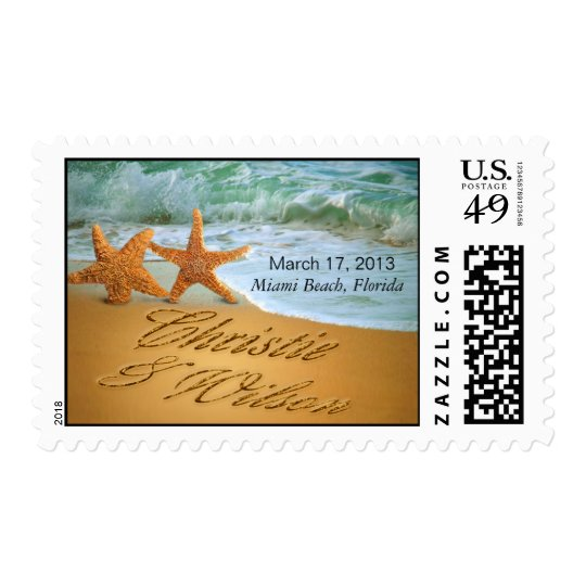 Starfish Couple ASK ME TO PUT NAMES IN THE SAND Postage