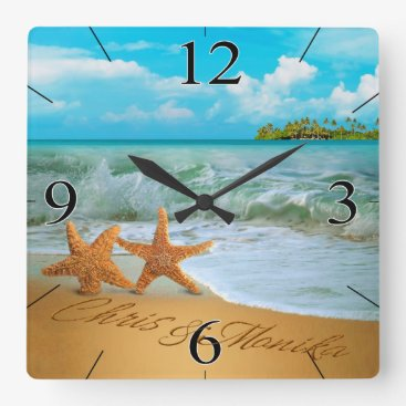 Beach Themed Starfish Couple ASK ME TO PUT NAMES IN THE SAND Square Wall Clock