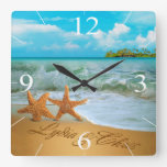 Starfish Couple ASK ME TO PUT NAMES IN THE SAND Square Wallclock