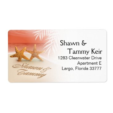 Beach Themed Starfish Couple ASK ME TO PUT YOUR NAMES IN SAND Label