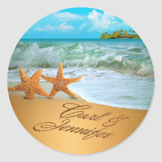 Starfish Couple ASK TO HAVE YOUR NAMES PUT IN SAND Classic Round Sticker