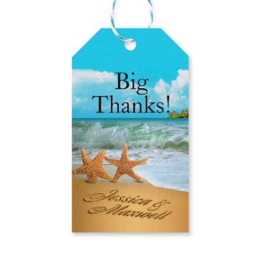 Beach Themed Starfish Couple ASK TO HAVE YOUR NAMES PUT IN SAND Gift Tags