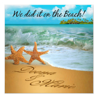 Starfish Couple ASK TO HAVE YOUR NAMES PUT IN SAND Personalized Invitations