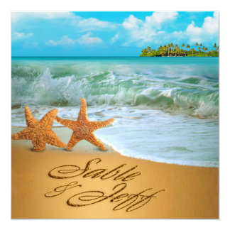 Starfish Couple ASK TO HAVE YOUR NAMES PUT IN SAND 5.25x5.25 Square Paper Invitation Card