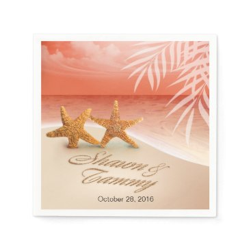 Beach Themed Starfish Couple ASK TO HAVE YOUR NAMES PUT IN SAND Napkin