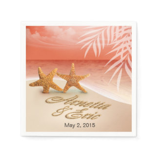Starfish Couple ASK TO HAVE YOUR NAMES PUT IN SAND Paper Napkin