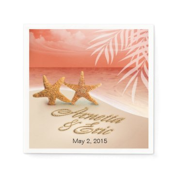 Beach Themed Starfish Couple ASK TO HAVE YOUR NAMES PUT IN SAND Paper Napkin