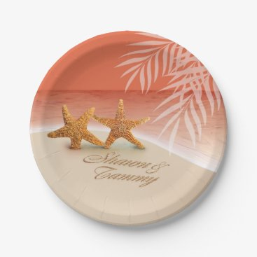 Beach Themed Starfish Couple ASK TO HAVE YOUR NAMES PUT IN SAND Paper Plate