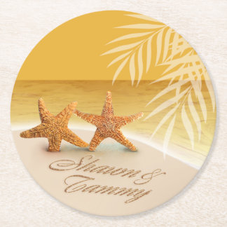 Starfish Couple ASK TO HAVE YOUR NAMES PUT IN SAND Round Paper Coaster