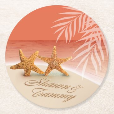 Beach Themed Starfish Couple ASK TO HAVE YOUR NAMES PUT IN SAND Round Paper Coaster