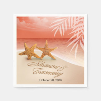 Starfish Couple ASK TO HAVE YOUR NAMES PUT IN SAND Standard Cocktail Napkin