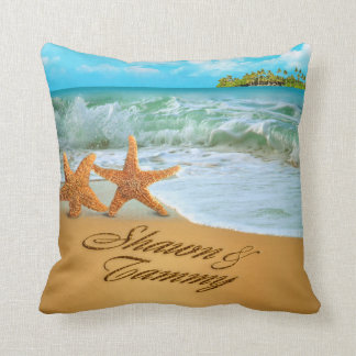 Starfish Couple ASK TO HAVE YOUR NAMES PUT IN SAND Throw Pillow