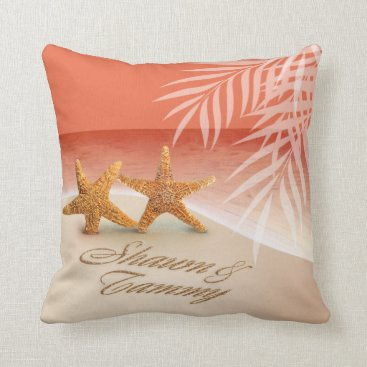 Beach Themed Starfish Couple ASK TO HAVE YOUR NAMES PUT IN SAND Throw Pillow
