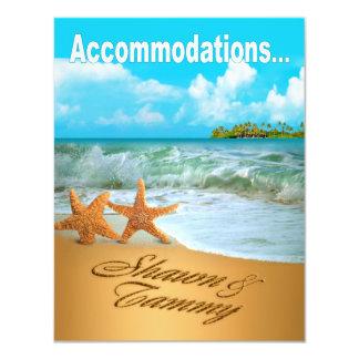 Starfish Couple Beach Wedding Accommodations Card
