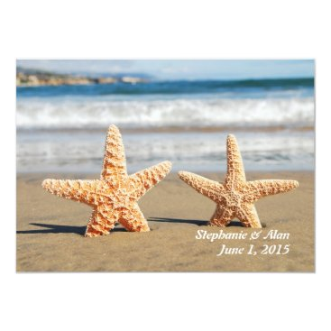 Beach Themed Starfish Couple Beach Wedding Invitation