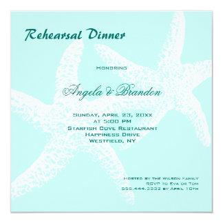 Starfish Couple Beach Wedding Rehearsal Dinner Card