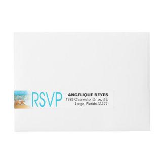 Starfish Couple Beach Wedding RSVP Wrap Around Address Label