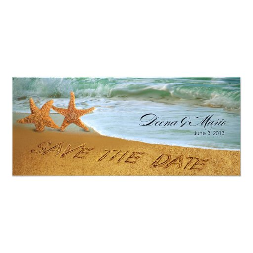Starfish Couple Beach Wedding Save the Date 4x9.25 Paper Invitation Card