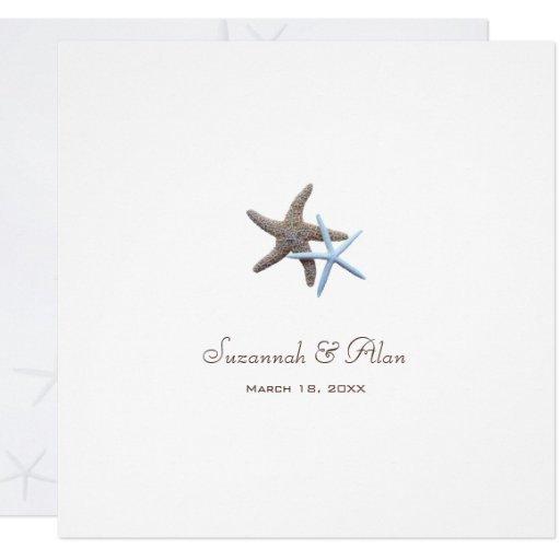 Starfish Couple Beach Wedding Square Invitations