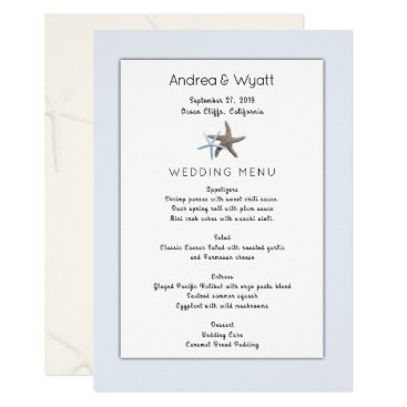 Beach Themed Starfish Couple Blue Border Wedding Menu Template