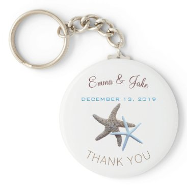 Beach Themed Starfish Couple Blue Thank You Key Ring Favor