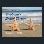 "Starfish Couple Bridal Shower Yard Sign<br><div class=""desc"">Starfish Couple Bridal Shower Yard Sign--a starfish couple on the beach with text in dark blue and white announces the location of your bridal shower.</div>"