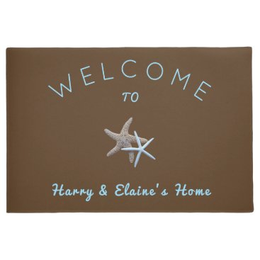 Beach Themed Starfish Couple Brown Welcome Door Mat