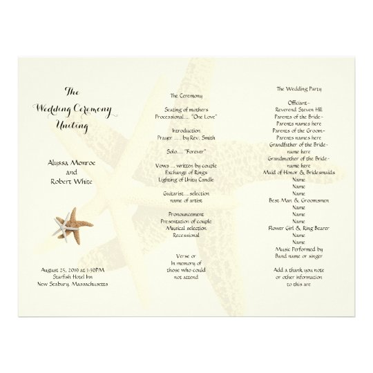 Starfish Couple Cream Tri Fold Wedding Program