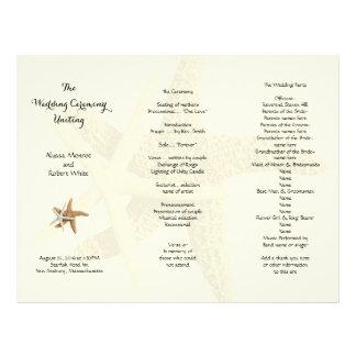 Starfish Couple Cream Tri-Fold Wedding Program Letterhead
