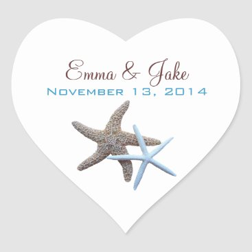 Valentines Themed Starfish Couple Custom Heart-Shaped Label