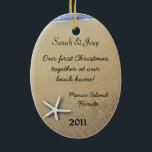 """Starfish Couple Custom Oval Christmas Ornament<br><div class=""""desc"""">Two starfish in beach sand on an oval hanging ornament. Add to the Christmas tree as a memento of a special time or momentous occasion. Four lines of template text let you customize as needed with names, info - such as """"first Christmas"""", or """"our vacation"""" text - and place and...</div>"""
