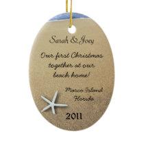 Starfish Couple Custom Oval Christmas Ornament