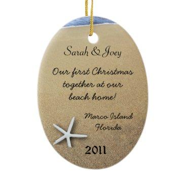 Christmas Themed Starfish Couple Custom Oval Christmas Ornament