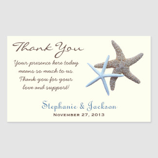 Starfish Couple Custom Rectangular Favor Labels Rectangular Sticker
