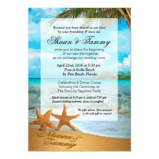Starfish Couple Faux Vellum Overlay Embellishment Card