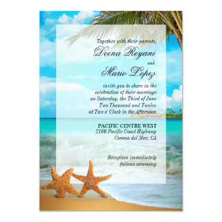 Starfish Couple Faux Vellum Overlay Embellishment Personalized Announcements