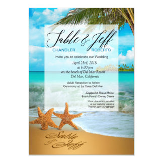 Starfish Couple Faux Vellum Overlay Wedding Card