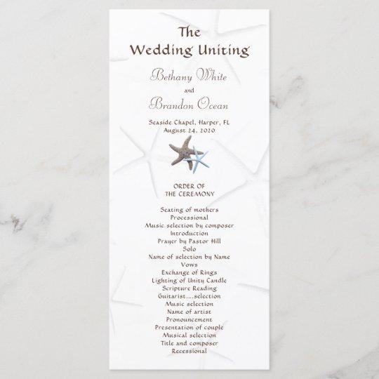 starfish couple flat double sided wedding program zazzle com