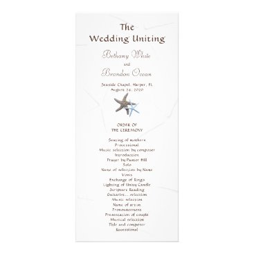 Beach Themed Starfish Couple Flat Double Sided Wedding Program