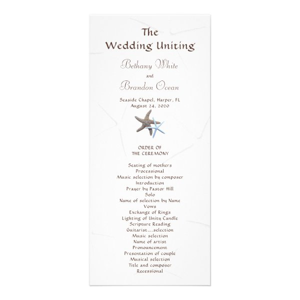 Starfish Couple Flat Double Sided Wedding Program