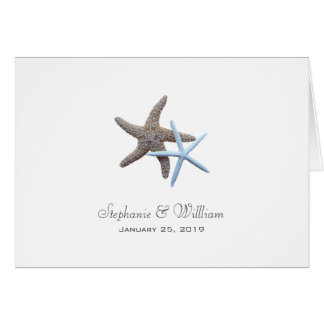 Starfish Couple Folded Wedding Invitation Cards