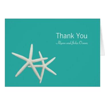 Beach Themed Starfish Couple Folded Wedding Thank You Note Card