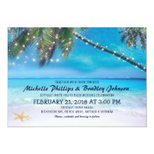 Starfish Couple Lights Beach Destination Wedding Invitations
