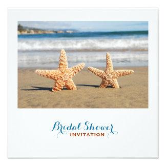 Starfish Couple On The Beach Bridal Shower 5.25x5.25 Square Paper Invitation Card