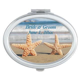 Starfish Couple on the Beach Compact Mirror