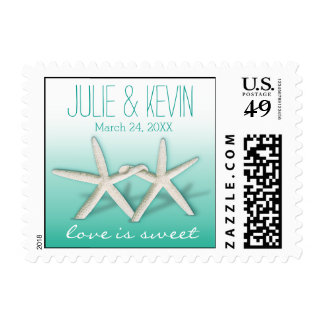 Starfish Couple On The Beach   ombre aqua Postage Stamp