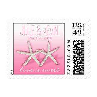 Starfish Couple On The Beach | ombre pink Postage